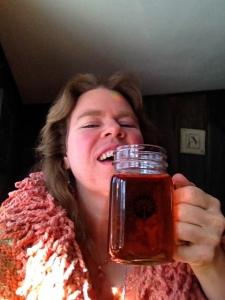Arianna drinking Black Birch tea