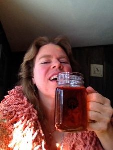 Arianna drinking Black Birch tea