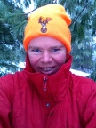 Arianna in Hunter Orange Hat