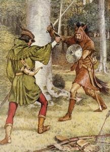 Robin Hood fighting Guy of Gisbourne
