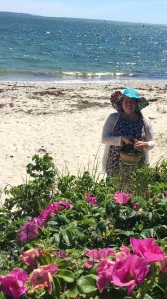 Arianna at the Ocean collecting Rugosa Rose